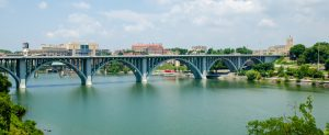 View of Knoxville Tennessee downtown Henley St Bridge